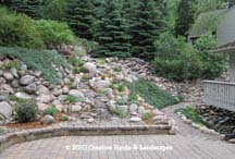 """After"" photo of pondless waterfall & landscape installation in Bloomington MN"