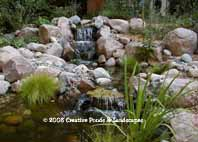 photo of pond & waterfall installation in Chanhassen MN.Click to enter gallery
