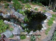 photo of pond & waterfall installation in Burnsville, MN.