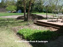 """before"" photo of pond & waterfall in Lake Elmo MN."