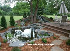 Photo of pond & waterfall in Lake Elmo MN.