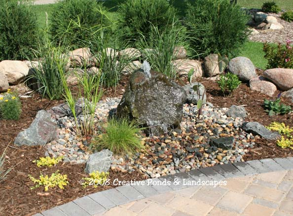After photo of boulder fountain project in Roseville, MN.