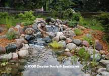 photo of waterfall installation in Roseville MN.